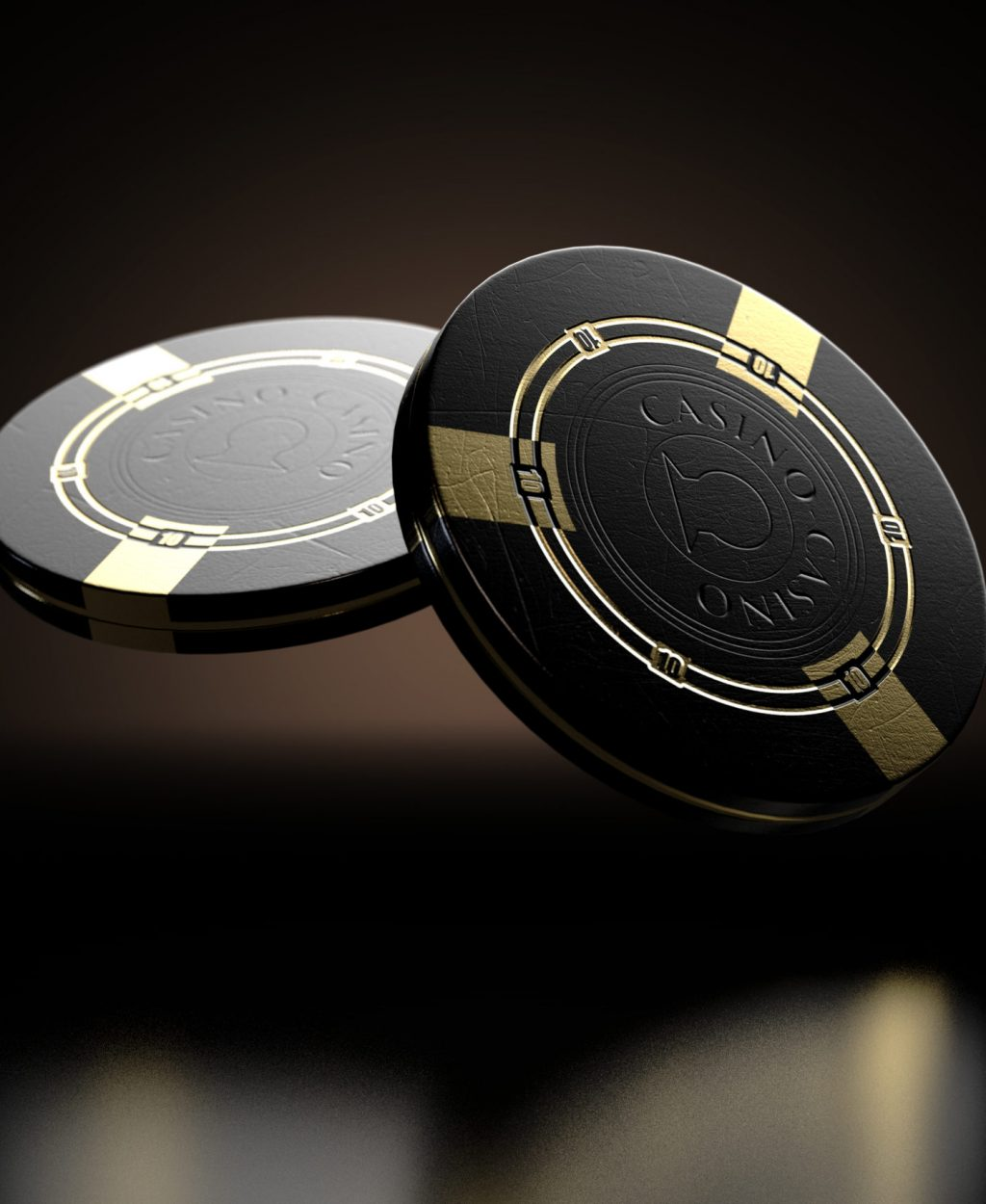 A set of two reflective black casino chips with gold markings floating in the air on a dark classy background - 3D render